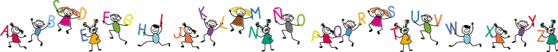 TenVinilo. Cenefa infantil abecedario con niños. Una cenefa adhesiva para pared con diseño creativo del abecedario completos y niños de dibujos animados con un estilo colorido