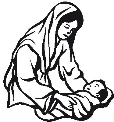 TenStickers. Sticker geboorte van Jezus. Een religieuze muursticker voor het decoreren van de woonkamer tijdens kerst. Een afbeelding van Maria dat kleine Jezus in de kribbe legt.