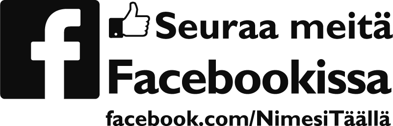 """Tenstickers. Facebook-liiketoiminnan tarra. Tämä mukautettu yritystarra koostuu lauseesta """"seuraa meitä facebookissa"""" ja sen vieressä oleva facebook-logo. Valitse koko."""