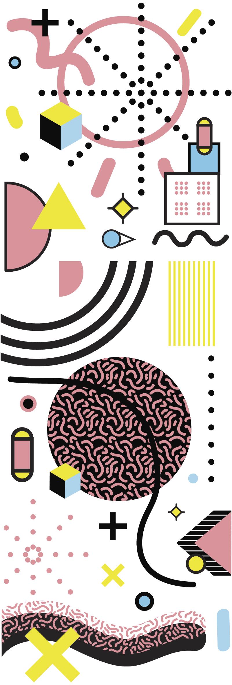 Tenstickers. Memphis-tyylisen lasioven tarra. Koristeellinen vinyyli-ovitarra memphis-tyylisten abstraktien taidesuunnittelulla. Valitse se sopivimmassa koossa haluamotilaan.