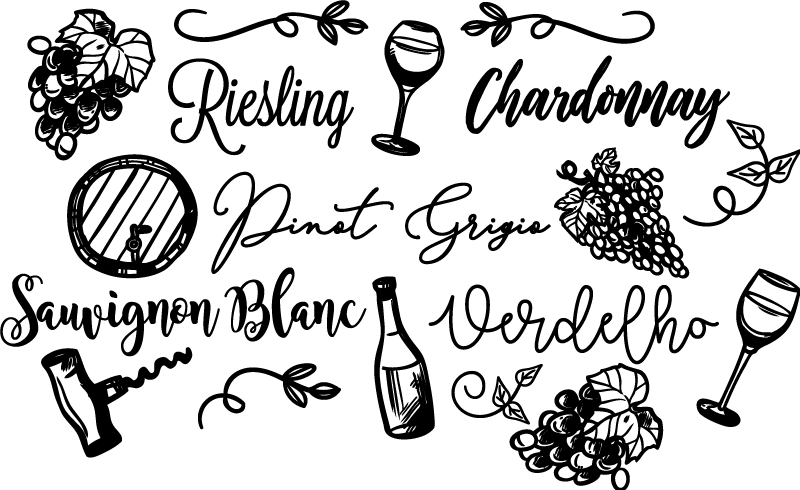 TenStickers. kinds of wine drink wall sticker. This fabulous kinds of wine drink sticker is perfect for your house if you want to improve incredibly all your house decor.