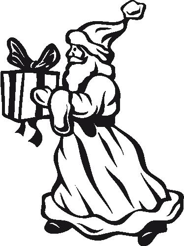 TenStickers. Kerstman met cadeau sticker. Deze muursticker omvat een kerstman met een cadeautje in zijn hand. Ideale decoratie voor uw woning of bedrijf. +10.000 tevreden klanten.