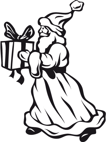 Kerstman met cadeau sticker