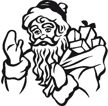 TENSTICKERS. プレゼントの袋とサンタクロースステッカー. クリスマスに配るプレゼントの袋が付いているサンタの装飾的な壁のステッカー。このお祝いの季節のリビングルームにぴったりのステッカー。