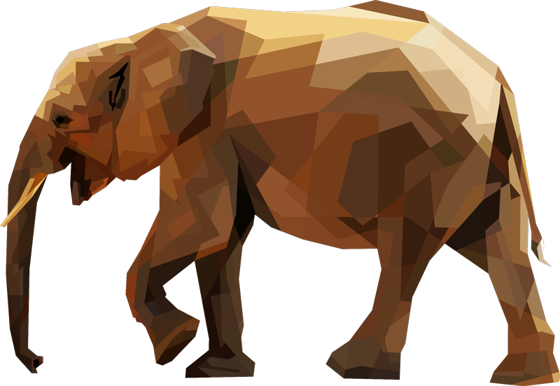 TenStickers. Sticker Mural éléphant géométrique. Ce sticker style abstrait représente un éléphant asiatique dans un style géométrique inédit et original. Pour vous faire voyager depuis chez vous !