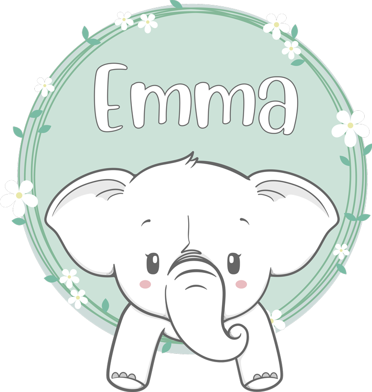 TenStickers. Elephant with name glass door sticker. Personalisable name elephant vinyl door sticker to decorate a door surface. Provide the name of choice and select the size.
