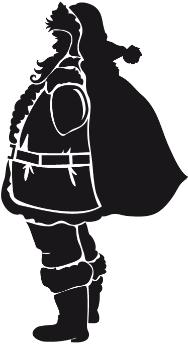 TenStickers. Father Christmas Silhouette Sticker. Fun silhouette sticker of Father Christmas to decorate your home during this season. Fantastic decal to get in the Christmassy mood.