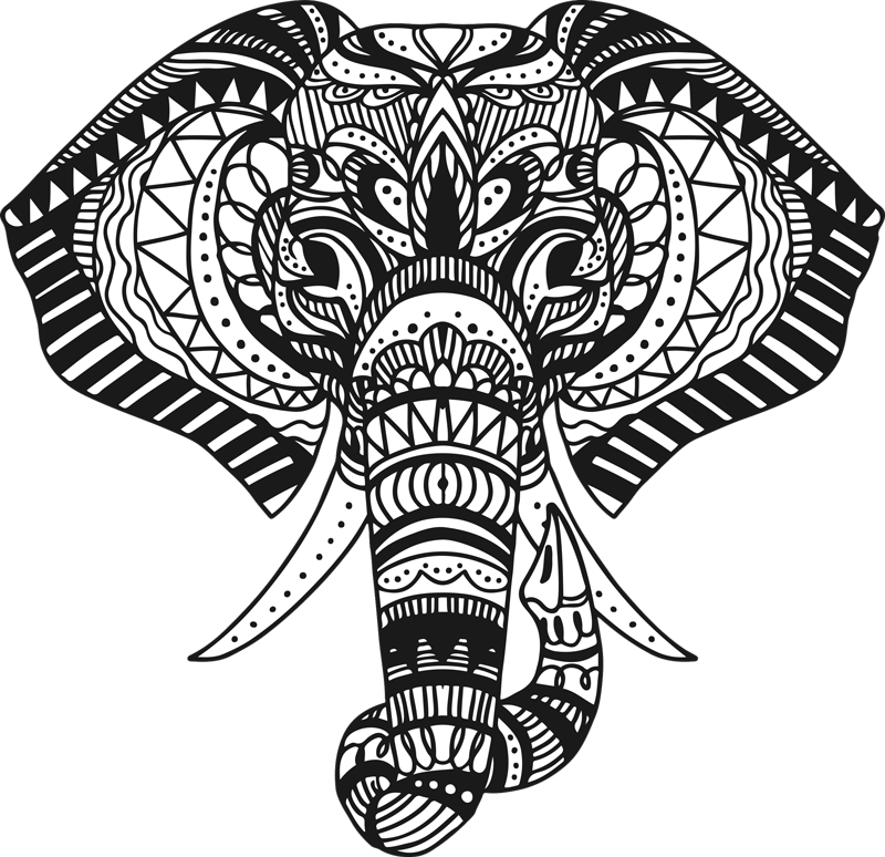 TenStickers. Ethnic elephant wild animal sticker. Decorative wild elephant wall sticker designed in an ethnic style. Buy this graceful decoration for a living room or any space in any suitable size.