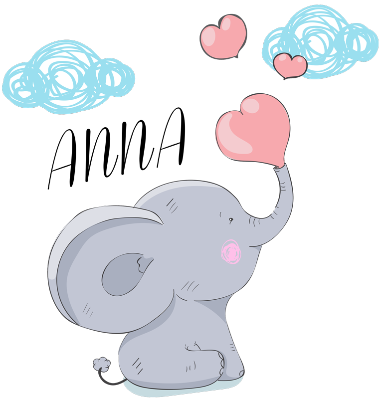 TenStickers. Elephant with name Translations illustration sticker. Decorative home wall sticker with the design of a giant elephant with customisable name. Provide the name needed for the design and choose the size.