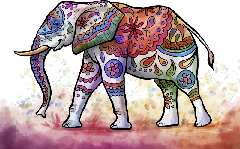 TenVinilo. Vinilo decorativo animal salvaje mandala colorido. Original vinilo adhesivo de elefante pintado en estilo mandala para decorar el espacio de la casa ¡Elija las medidas!