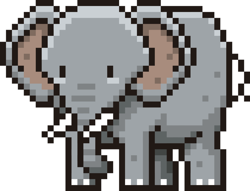 TenStickers. Pixel elephant animal wall decor. Buy our pixel elephant to decorate the wall space in the home, preschool, playground or any space off choice. Choose it in the best suitable size.