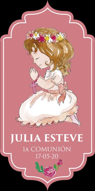 TenVinilo. Vinilo original invitación comunión. Pegatina personalizable en color rosa para decorar las invitaciones de la comunión de tu pequeña. Descuentos para nuevos usuarios.