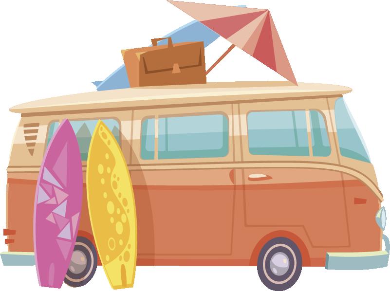 TenStickers. stickersurf surf estivo. Grazie a questo meraviglioso adesivo da surf estivo per furgoni, ora puoi cambiare radicalmente l'aspetto di ogni stanza della tua casa!
