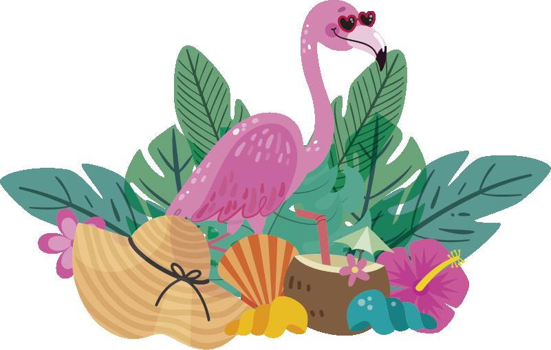 TenStickers. Wandtattoo Ranke Pflanze Sonnenbrillen Flamingo. Auf gehts in den Sommerurlaub! Unsere lustigen Sommer Wandtattoos erhitzen nicht nur Ihr Zuhause sondern sehen gleichzeitig noch witzig aus.