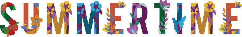 """TenStickers. Sticker Maison Summertime. Cet autocollant mural texte """"summertime"""" composé de plusieurs motifs floraux et colorés vous transportera directement sous les cocotiers."""