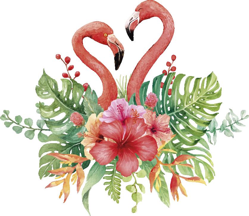 TenStickers. Muurstickers bloemen tropische flamingo's. Tropsiche flamingo sticker om een zomerse sfeer te maken in huis? Deze flamingo zomer sticker is ideaal voor uw muren? Zomer tropsiche stickers!