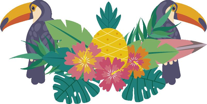 TenStickers. Muurstickers bloemen tropische tucan. Mooie sticker tropsiche tucan! Deze tucan sticker is geschikt voor de slaapkamer ! Deze tucan muursticker zal een  zomerse sfeer naar je huis brengen!
