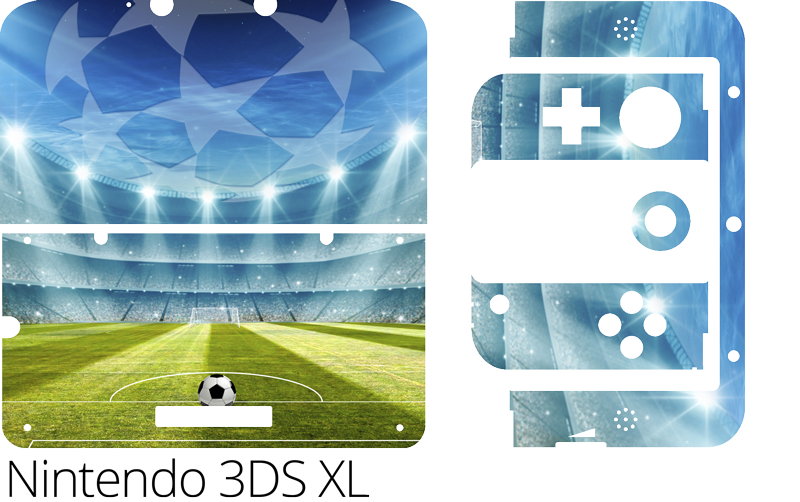 TenStickers. Autocollant nintendo champions du stade de football (3ds xl). Sticker nintendo wrap pour décorer la surface de l'appareil dans la conception d'un stade de football. Achetez-le dans le modèle parfait pour votre appareil.