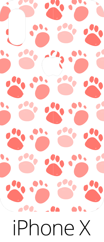 TenVinilo. Vinilo dibujo patrón huellas perro. Vinilo para iPhone formado por un estampado de huellas de perro en tonos rosa sobre un fondo de color blanco. Envío Express en 24/48h.