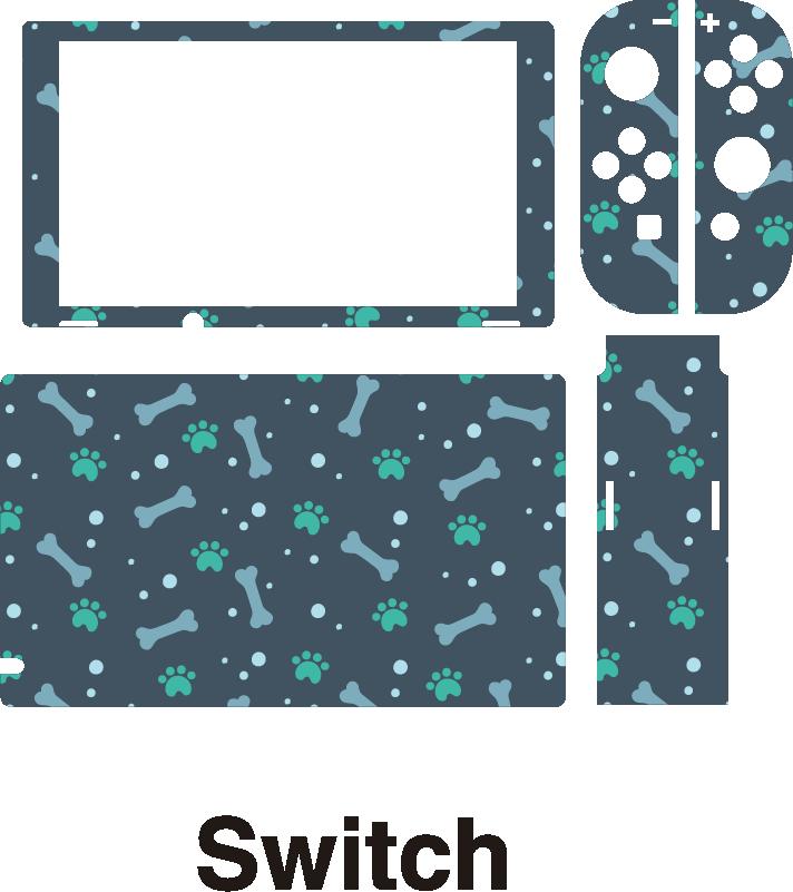 TenStickers. Naklejka na konsolę Kości i odciski łap. Ciekawe naklejki na Nintendo Switch to idealny pomysł na dopasowanie tego urządzenia do Twojego gustu. Sprawdź nasze naklejki z motywem psów.