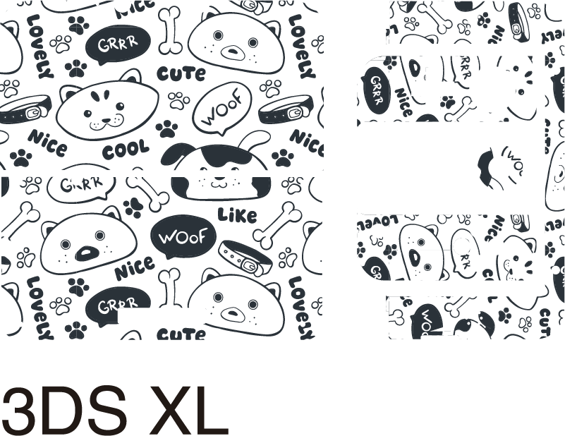 TenStickers. Puppies pattern nintendo skin. Decorative Nintendo vinyl sticker with the design of cute puppies print on it. Choose it in the best suitable model size. Easy to apply.