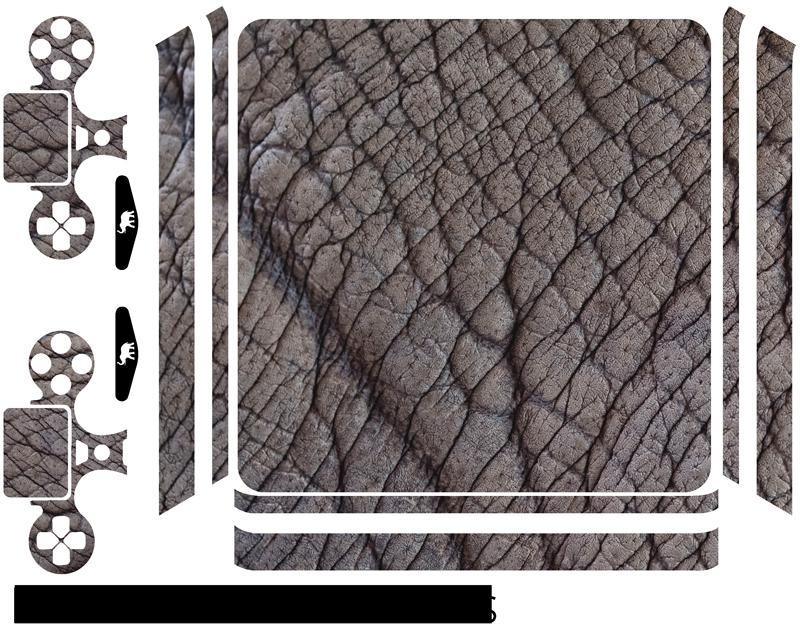 """TenStickers. Sticker PS4 Peau d'éléphant. Ce sticker PS4 reprend la texture d'une peau d'éléphant : rien de tel pour donner un petit côté """"wild"""" et unique à votre console."""