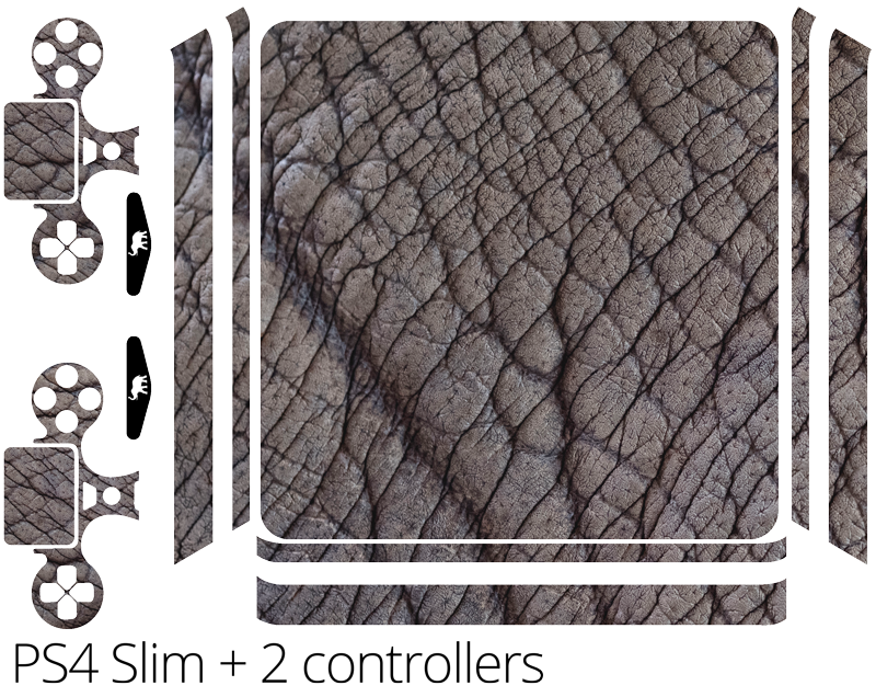 TENSTICKERS. 象の皮(ps4スリム)ps4ステッカー. この驚くべき象の肌の質感のビニールスキンラップでプレイステーションコンソールの表面を飾ります。デバイスに適合するモデルを選択してください。