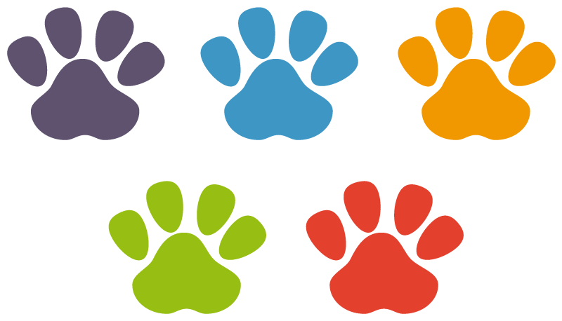 TenStickers. Set color footprints wall decal. Decorative home wall sticker with the design of animal footprints in a set. Buy it to cover the wall surface with prints of animal in multicolour.