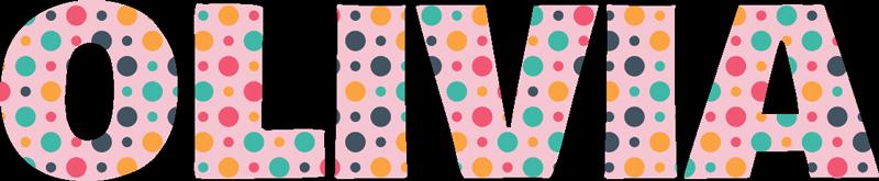 TenStickers. Nome fatto di adesivi murali con testo a punti. Personalizza un nome su questo speciale adesivo da parete con testo e riempito con colori di varietà. Scegli la dimensione desiderata tra le opzioni fornite.