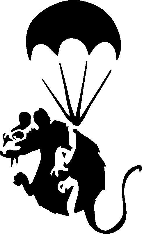 TenStickers. Ratto con paracadute sticker in vinile. Un originale adesivo da parete con il disegno di un topo con paracadute. Disponibile in diversi colori e opzioni di dimensioni. Facile da applicare su una superficie piana.