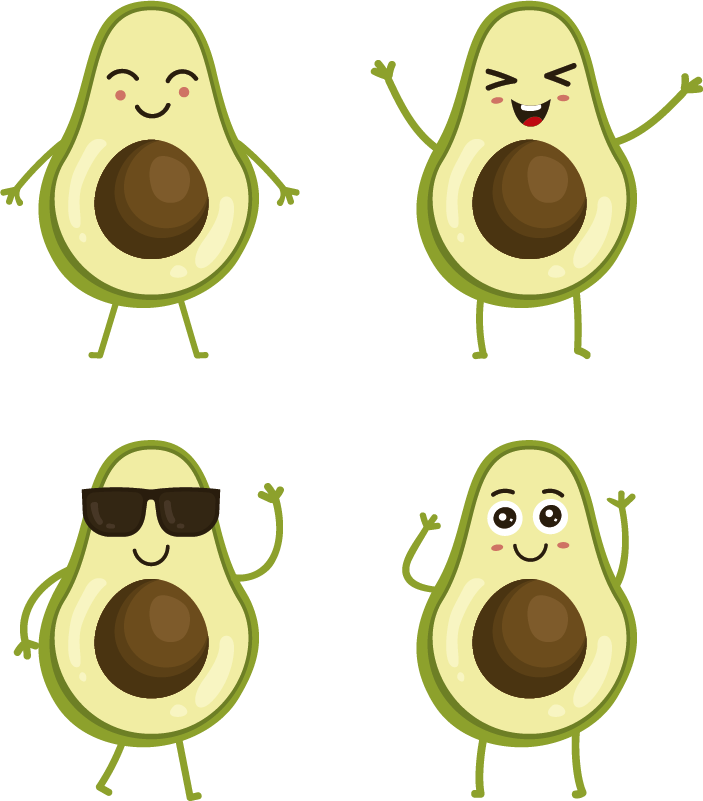 TenStickers. Set funny avocados fruit wall sticker. Funny avocado fruit decal design to decorate the kitchen space to create the spark of cuisine in the space. Buy it in the best size option.