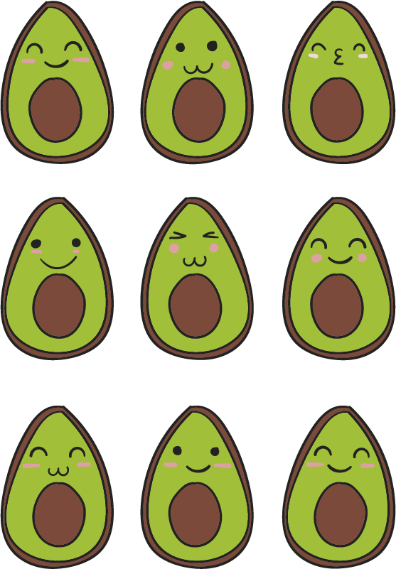 TenStickers. Set happy avocados fruit wall decal. Avocado fruit sticker to decorate the kitchen space to create the spark of food theme on it. Choose the size that is suitable for your kitchen space.