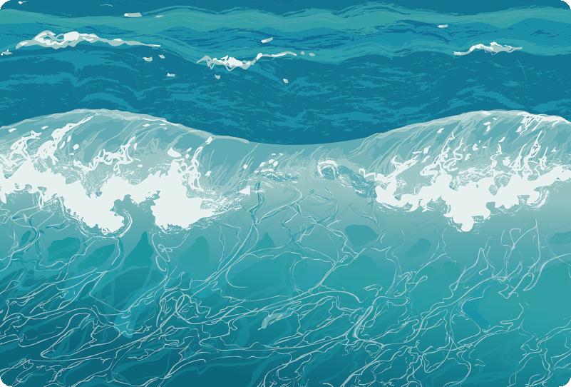 TenStickers. Adesivo touchpad mare con onde. Rendi il tuo computer portatile più marittimo e più estivo, grazie a questo adesivo touchpad, che rappresenta l'immagine di un mare con delle onde