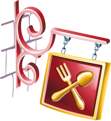 TenStickers. Restaurant Sign Wall Sticker. Kitchen Wall Stickers - Illustration of a hanging sign indicating a restaurant. Ideal to decorate your home or business.