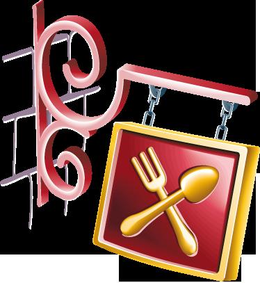TenStickers. Restaurant bord sticker. Deze muusticker geeft een 3D effect! Je ziet een vork en een lepel dat aanduidt dat er een restaurant is.