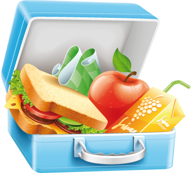 TenStickers. Lunch Box Wall Sticker. Kitchen Wall Stickers - Bright and vibrant illustration of a lunch box filled with nutritious food.