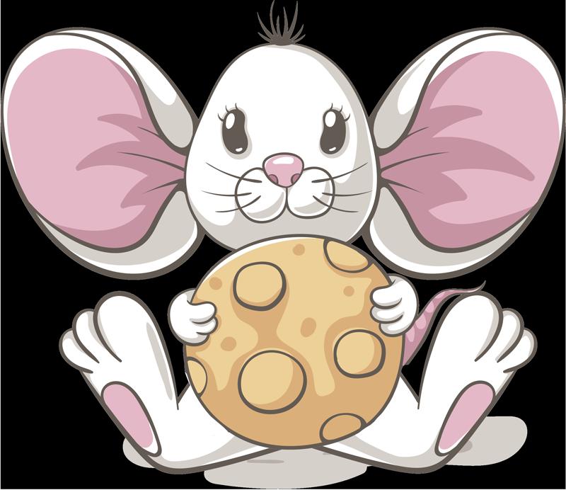 TenStickers. Wandtattoo Zeichnung Maus mit Keks. Hätten Sie gerne eine süße Maus in Ihrem Zimmer? Aber nicht als Tier, sondern als wunderschönen Wandaufkleber für Ihr Zimmer oder das Ihres Kindes.