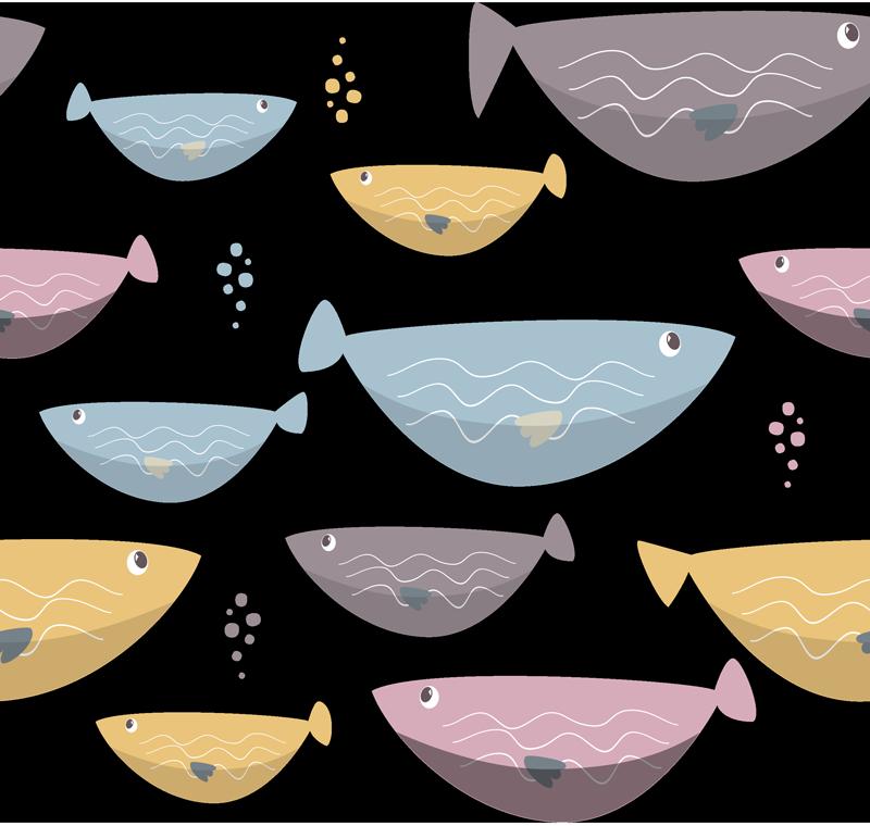 TenVinilo. Vinilo animal peces infantiles. Lámina adhesiva para decorar una habitación infantil formada por un estampado de peces en diferentes colores y tamaños. Precios imbatibles.
