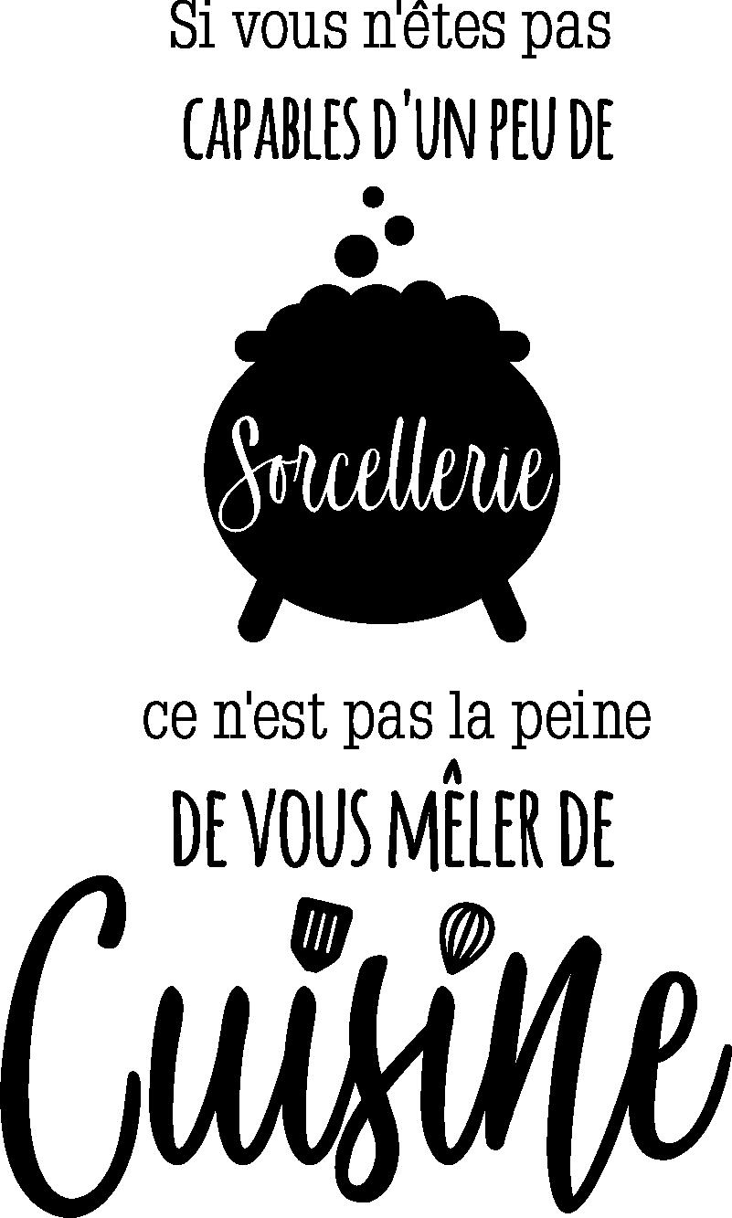 TenStickers. Sticker Maison Citation de Colette sorcellerie. Ce sticker de citation reprenant cette célèbre phrase de l'auteure Colette sur la cuisine sera idéal dans votre cuisine ou dans votre restaurant !
