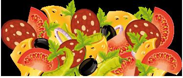 TenStickers. Kuhinjska nalepka za kolaž za hrano. Kuhinjske stenske nalepke - barvno oblikovanje solate s paradižnikom, solato in sirom.