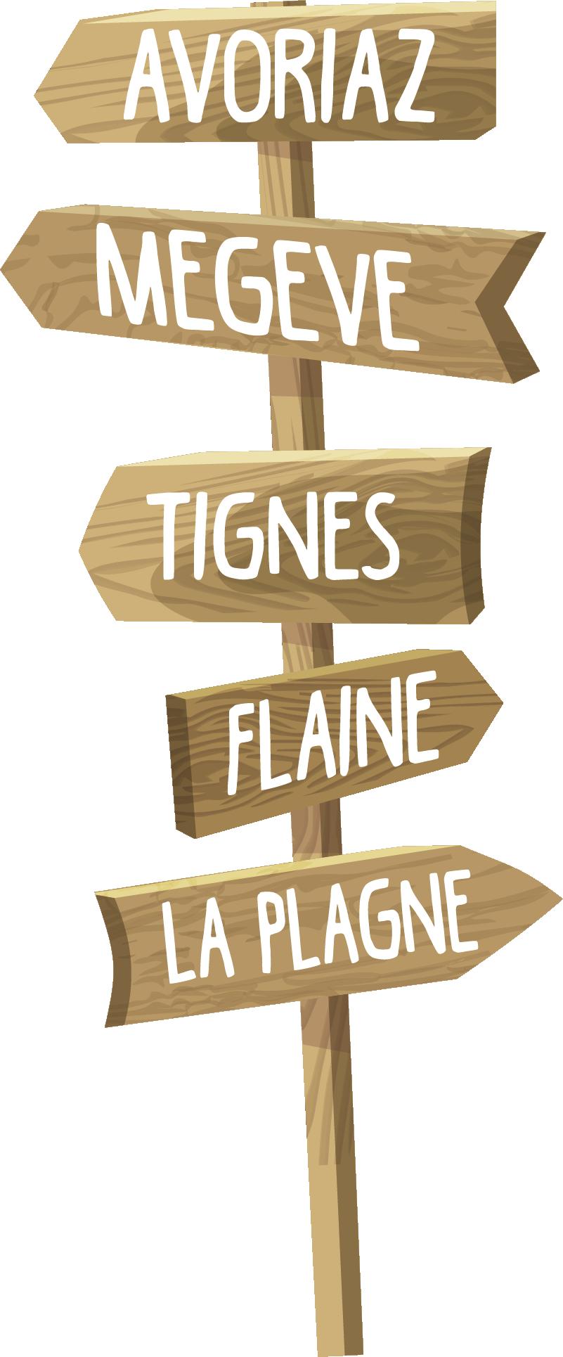 TenStickers. Sticker Mural Vers les montagnes. Cet autocollant mural dessin représente des panneaux de signalisation indiquant le chemin vers les montagnes françaises.