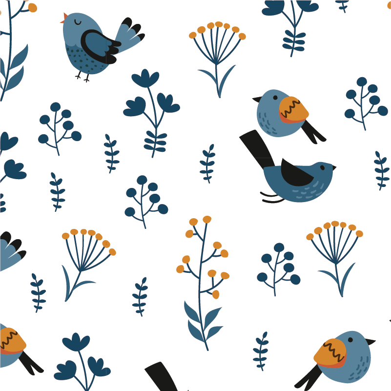TenStickers. Leaves and birds furniture decal. Beautiful and colorful furniture sticker with the design of leaves andbirds. Choose the best matching size for the surface to decorate.