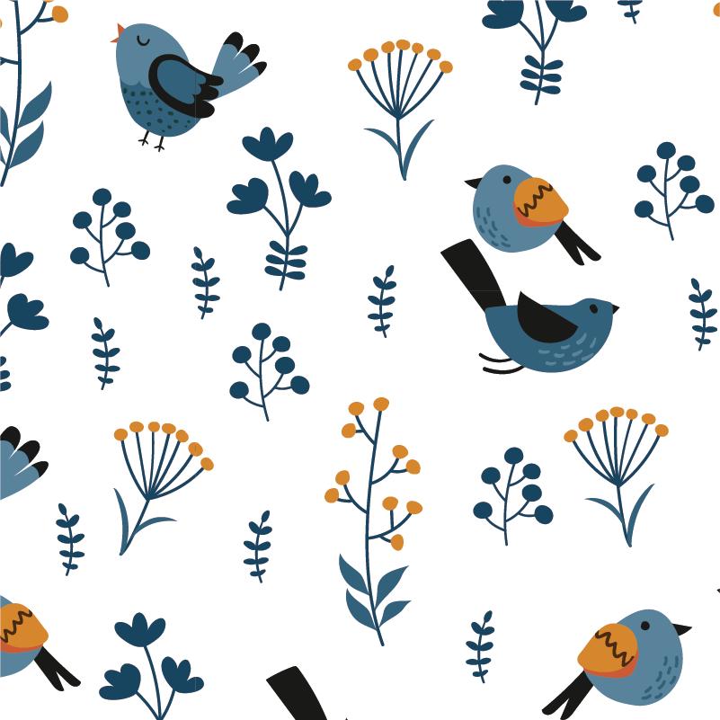 TenStickers. Pellicola adesiva per mobile piante e uccelli. Rinnova un vecchio mobile e rendilo nuovo, grazie alla nostra pellicola adesiva per mobile, che presenta un motivo di uccellini disegnati e piante
