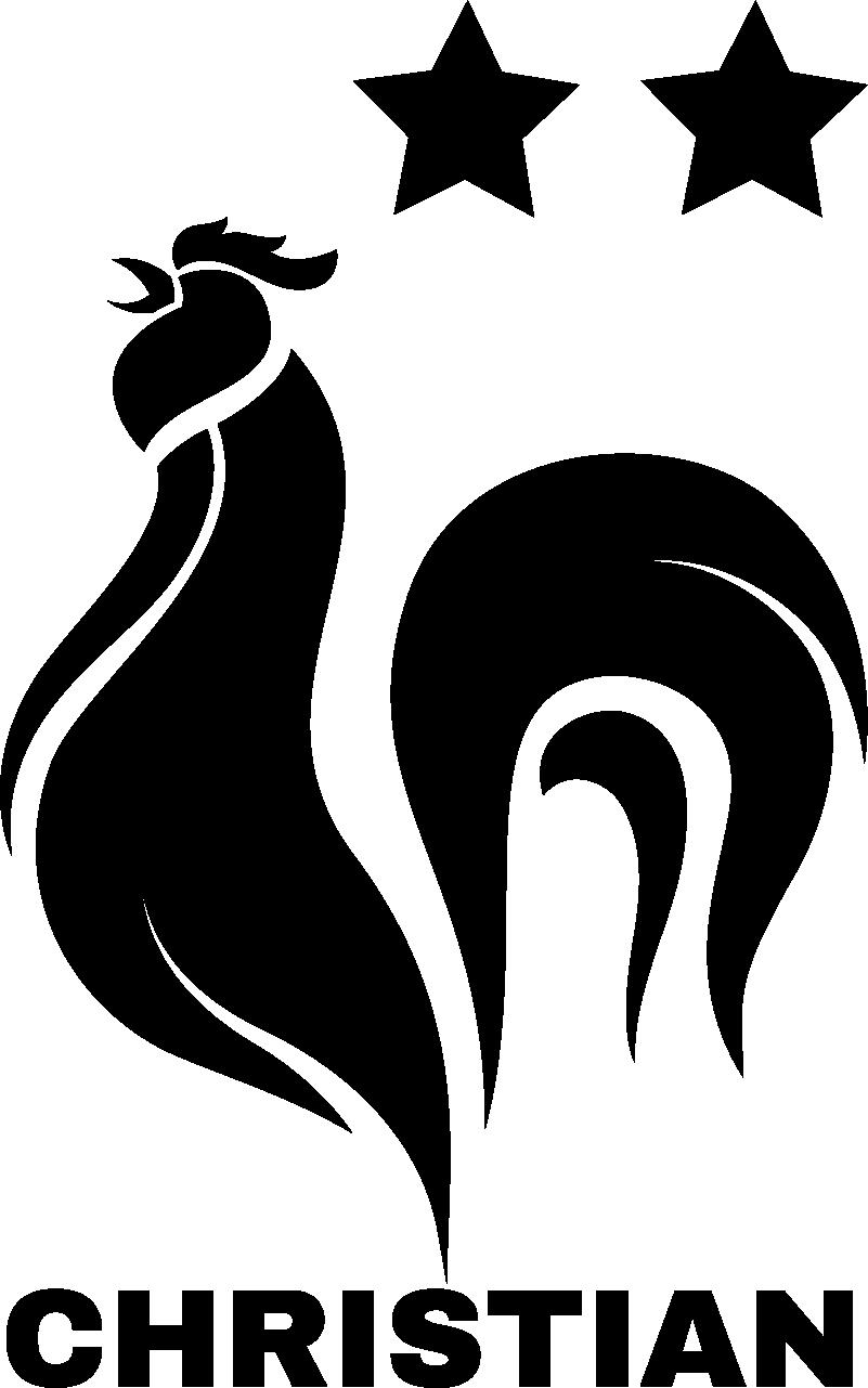TenStickers. Sticker Maison Coq Français. Ce sticker sport personnalisé représente le célèbre emblème du coq français, accompagné de deux étoiles et du prénom de votre petit champion de foot.