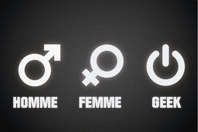 """TenStickers. Stickers Texte Homme Femme Geek. Un autocollant ordinateur """"homme femme geek"""" : pour montrer à tous votre côté geek avec fierté, peu importe le modèle de votre ordi!Qualité Garantie."""