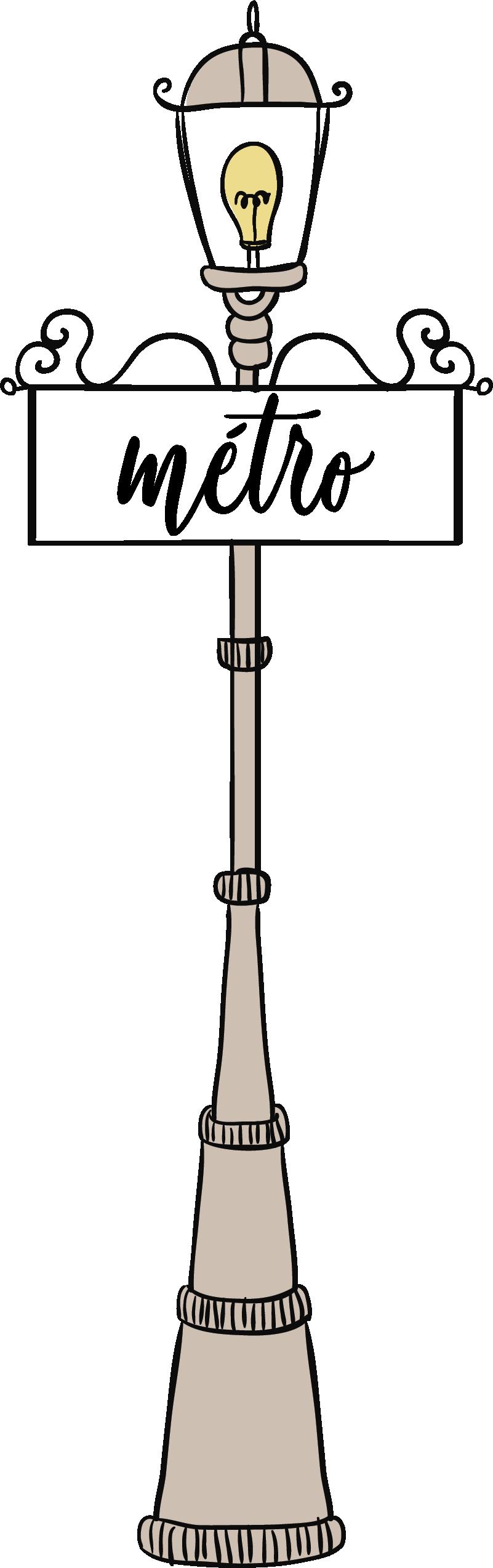 """TenStickers. Stickers Monde Métro de Paris. Ce sticker de dessin représente un panneau signalétique """"métro"""" sur un lampadaire : le tout dans un style très vintage et élégant."""