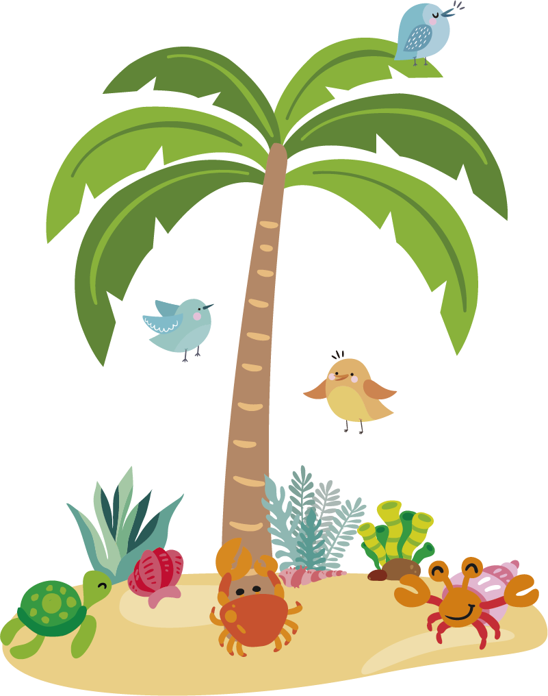 TenStickers. Muurstickers kinderkamer palm tree and marine animals. Nice nursery palm tree sticker for the little ones! View here fun children's room tree wall decoration and surprise your children! Express shipping.