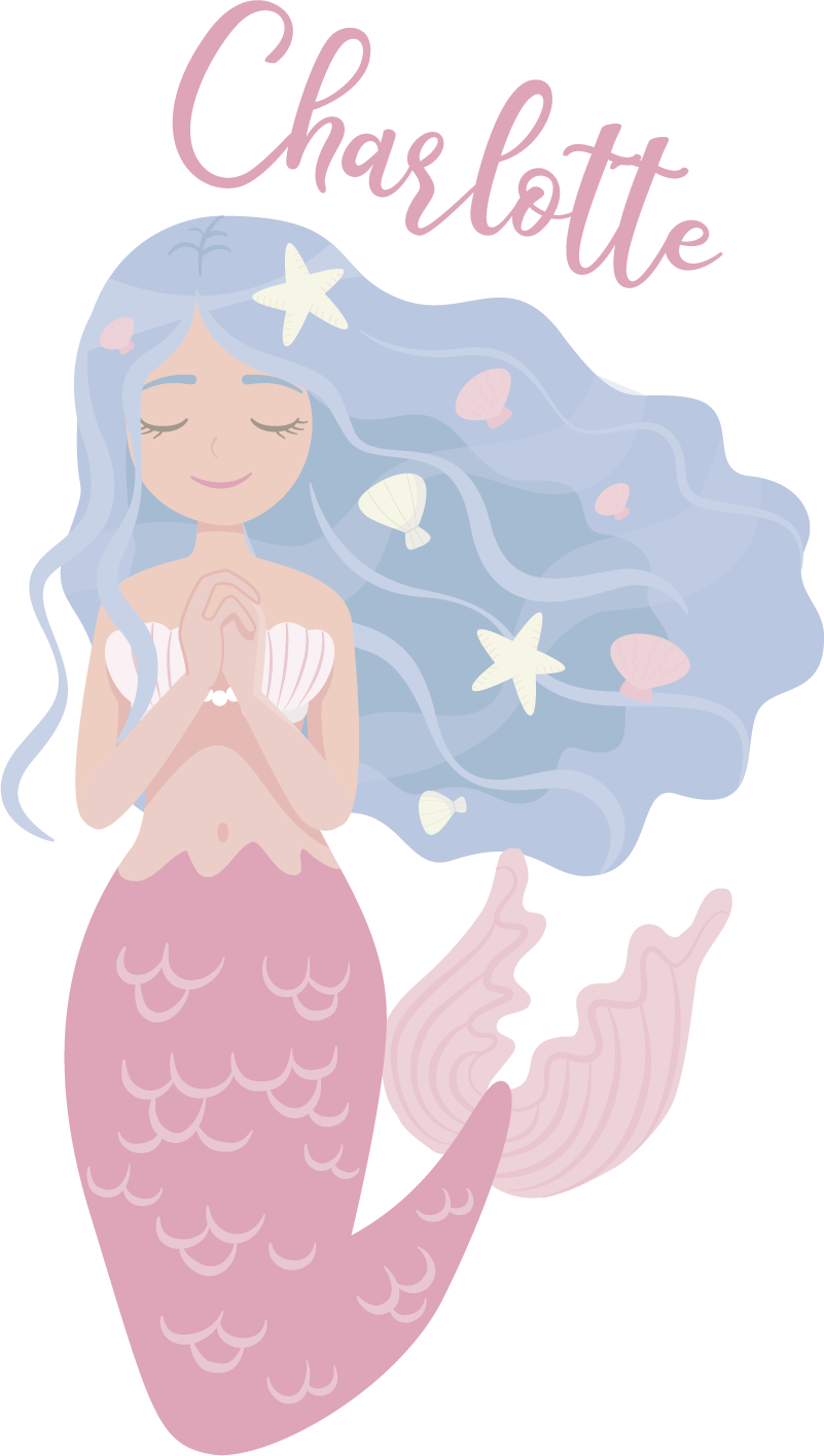 TenStickers. Colored mermaid fantasy decor. Personalisable name colorful mermaid fantasy wall art decal for the bedroom of children. Choose the size that is ideal for a desired space.