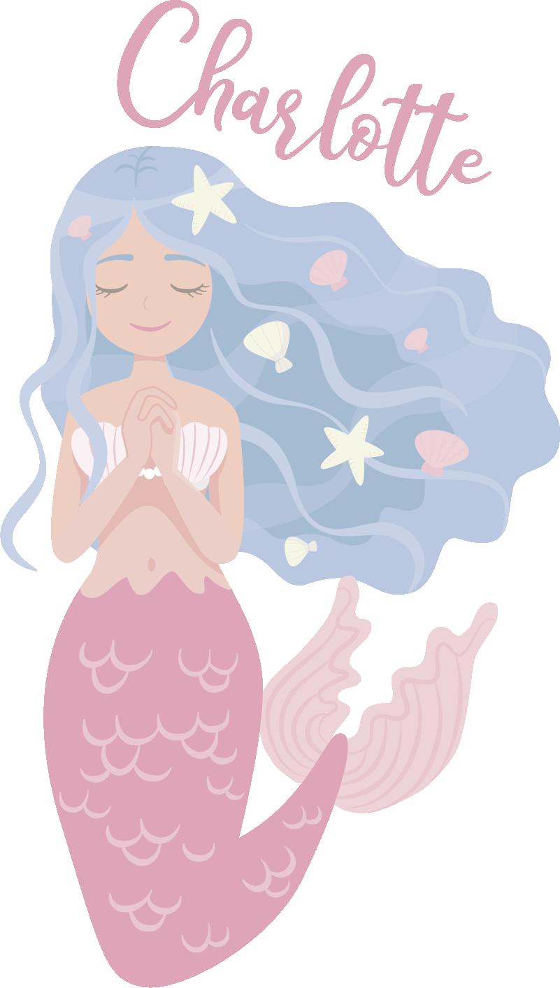 TenStickers. Muurstickers kinderkamer zeemeermin met naamsticker. Een prachtige zeemeermin naamsticker voor de kinderkamer. Verras uw kinderen met unieke kinderkamer zeemeermin stickers. Ervaren ontwerpteam.