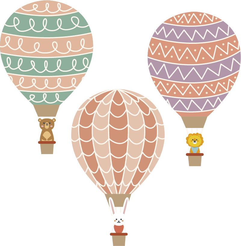 TenVinilo. Vinilo pared globos para bebé. Pack formado por tres pegatinas adhesivas con el diseño de globos aerostáticos en diferentes colores. Descuentos para nuevos usuarios.
